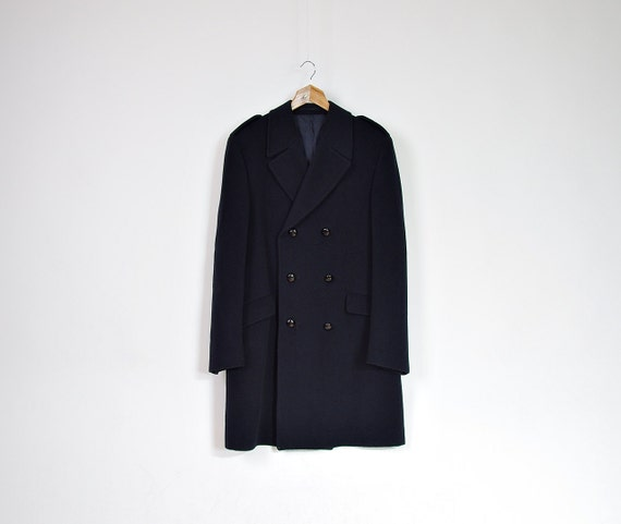 SALE - 80s Hepworths Military Captain Army Street Style Wool Cashmere Coat / Size M/L
