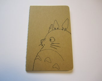Hand Drawn Studio Ghibli Totoro Moleskine Ruled Journal, Small, Black on Brown.