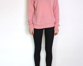 90's Italian pink sweater, angora wool blend bubblegum mock high polo neck turtleneck soft pastel oversized grunge classic minimalist jumper