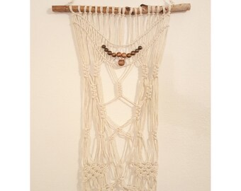 String Macrame with Beads Wall Hanging