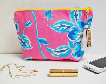 Pink floral clutch / custom clutches for bridesmaids / cozumel destination wedding / zippered jewelry pouch