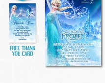 FROZEN BIRTHDAY INVITATION, Frozen Invitation, Birthday Invitation, Frozen Birthday, Printable, Chalkboard Invitation, Free Thank You Card