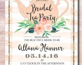 Peach Bridal Tea Party Invitation