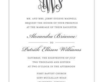 Sophisticated Monogram Wedding Invitation