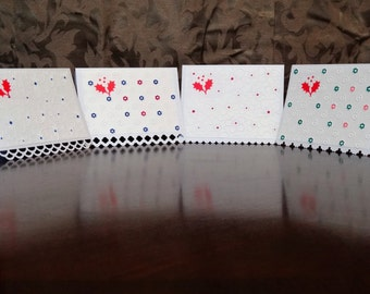 Handmade Greeting Card Set, 4 Cards, Embossed, 2 Different Types of Cards