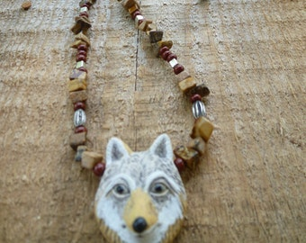 wolf head totem  necklace