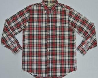 LL Bean Shirt Men Medium Vintage LL Button Front Shirt Vintage Ll Bean Flannel Shirt LL Bean Plaid Shirt Made in Usa