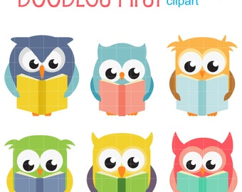 Reading Owls Digital Clip Art for Scrapbooking Card Making Cupcake Toppers Paper Crafts