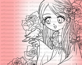Digital Stamp-A Birdie Told Me, big eyed girl illustration, Digital Coloring page, Anime, Manga, instant download, girl and bird 8 x 10 inch