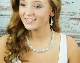Chunky Bridal Necklace Pearl Wedding Necklace Pearl Bridal Earrings Bridal Jewelry Wedding Jewelry Ivory Wedding Necklace Megan Jewellery