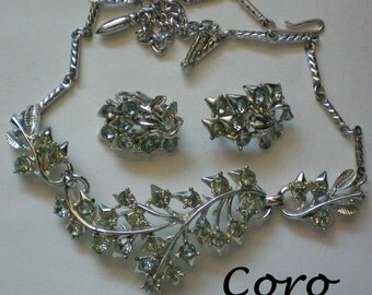 Coro 1950's Floral Necklace & Clip Earrings Set - 4721