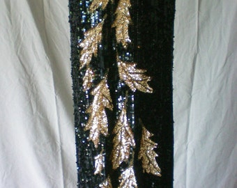 Full Length Black and Gold Sequin Evening Gown - 4763
