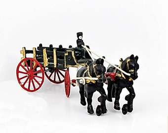 Vintage Cast Iron Horse Buggy Wagon Delivery Cart Toy