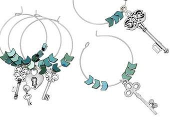 Hematite Wine Glass Charms Table Decorations Key Pendants Mixed Antique Silver - 1 Set: 3 pieces