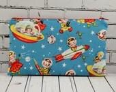 Retro Spaceship Pencil Case, Kawaii Kids Make Up Bag