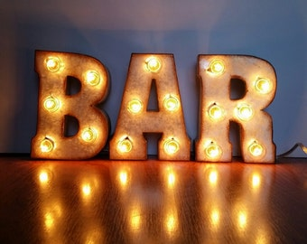 "Metal Marquee BAR Sign 7"" Letters"