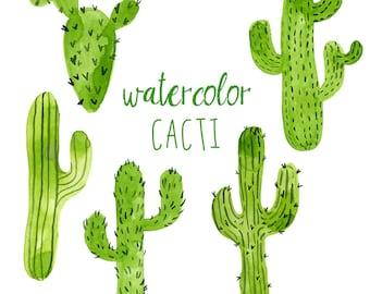 Watercolor Cacti, Digital cactus clip art, Western clipart, Trend Clip Art, Green Cactus, Watercolor Cactus, Cactus clipart, Digital Clipart