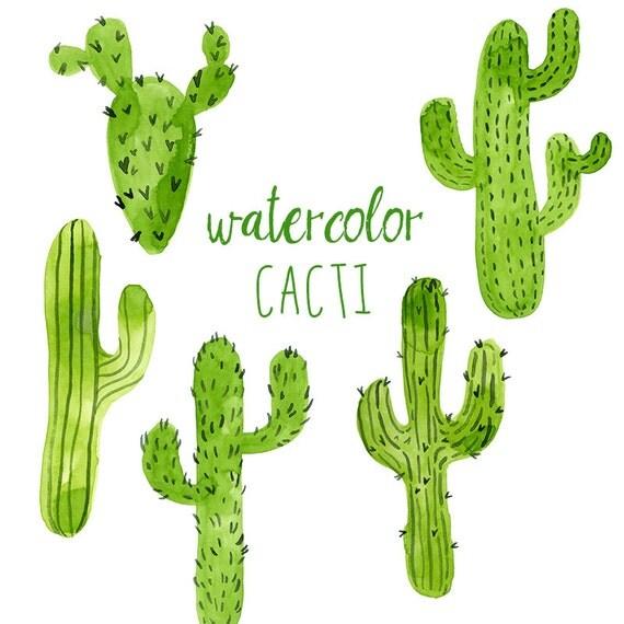 Watercolor Cacti Digital cactus clip art Western clipart