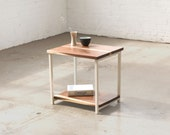 The Watson End Table - Walnut with White Powder Coated Steel - Walnut, Ash, Maple Solid Wood.. Side Table