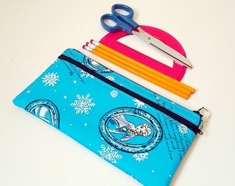 FINALPRICE CLEARANCE Double Zipper Pencil Case / Frozen / Elsa / Blue