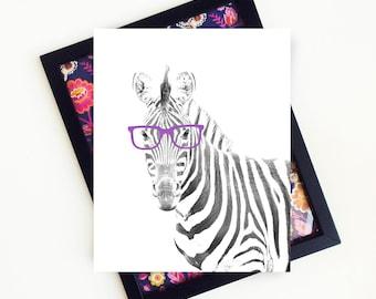 Zebra Print, Zebra Art, Zebra Nursery, Safari Nursery, Zebra with Glasses, Safari Animals Nursery, Zebra Wall Art, PRINTABLE
