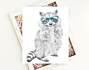 Raccoon Print, Woodland Animals, Animal Art, Animal Printables, Raccoon Art, Raccoon with Glasses, PRINTABLE Art, 8x10, Digital Download