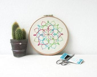 Hand embroidery wall art, 6 inch hoop, mandala embroidery, mandala wall hanging, bright modern embroidery, New home gift, handmade in the UK