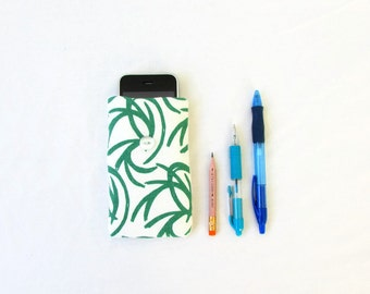 Fabric Iphone case, green hand printed fabric, handmade in the UK