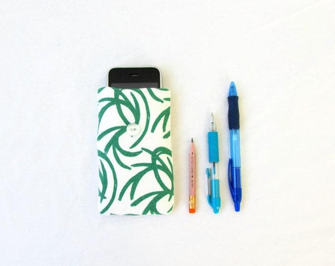 Fabric Iphone case, green hand printed fabric, handmade in the UK