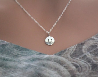 Sterling Silver Simple D Initial Necklace, Silver Stamped D Necklace, Stamped D Initial Necklace, Small D Initial Necklace, D Initial Charm