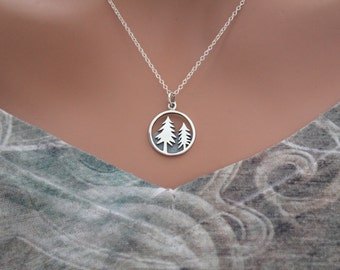 Sterling Silver Tree and Mountain Pendant, Silver Camping Pendant Necklace, Hiking Necklace, Pine Tree Pendant Necklace, Necklace for Camper
