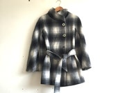 Vintage Grey White Checked Flared Sleeved Coat