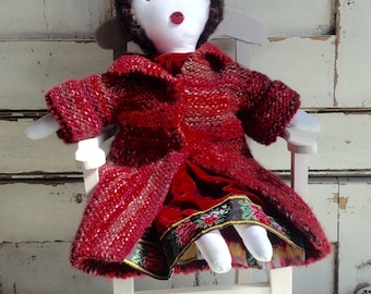 Gift for her rag doll, fabric doll,, handmade one of a kind cloth doll, gift doll ,  unique birthday gift, anniversary gift,  No6