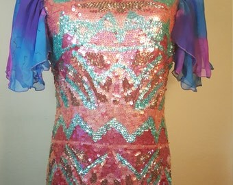FREE  SHIPPING  Vintage Abstract Geometric Sequin  Dress