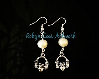 Silver Irish Claddagh Ring Earrings with Freshwater Pearls
