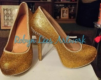Gold Rhinestoned Shoes with Faux Pearl Rhinestones and Silver Spikes, UK Size 4. Bridal, Statement, Shiny, Beautiful