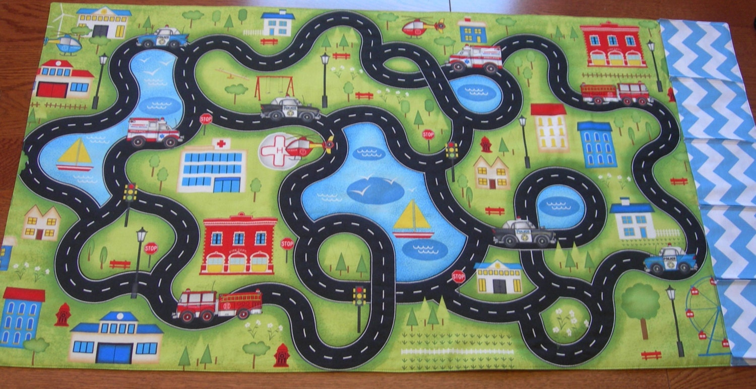 Fabric Roads For Toy Cars : Road play mat rescue vehicles town