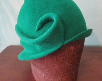 The Seabright - Hand-blocked freeform women's cloche hat in green fur felt