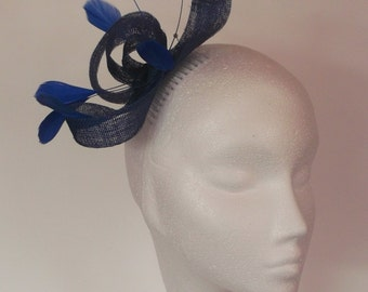 Royal blue feather fascinator hat made in Scotland UK Wedding hat/brides mothers hat/races hat