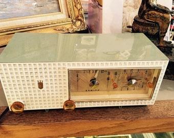 Vintage Zenith Sage Green Telechron Clock and Long Distance Tube Radio Combination