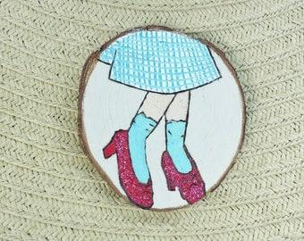 Ruby Slippers Wood Slice Magnet