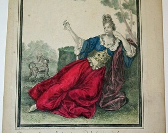 French Fashion Engraving  by Bonnart  published c. 1690, Woman with bird in hand