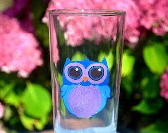 Purple and blue owl glass