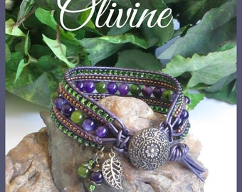 OLIVINE Beaded Leather Wrap Bracelet, 5 Row Cuff, Boho Wrap, Vintage Style, Gemstone Bracelet, Violet, Handmade Jewelry, Ravengirl Design