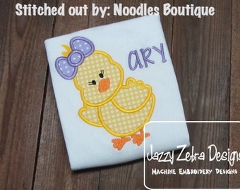 Girl Chick Appliqué Embroidery Design - Easter appliqué design - girl appliqué design