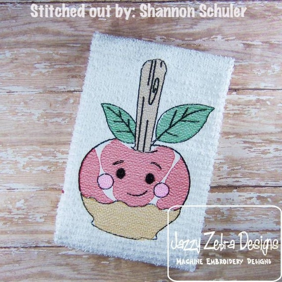 Candy or Carmel Apple Sketch Embroidery Design - candy apple Sketch Embroidery Design  - fall Sketch Embroidery Design - teacher Sketch