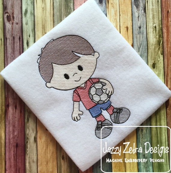 Soccer Boy 2 Sketch Embroidery Design - boy Sketch Embroidery Design - soccer Sketch Embroidery Design