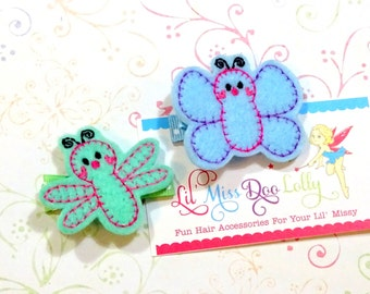Embroidered Felt Clippie- Butterfly and Dragonfly Clippie Set-Butterfly Hair Clippie- Bug Clippies-Light Blue and Mint (Set of 2)
