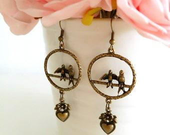 Swallows Birds Cage, Heart Earrings, Bronze Earrings, Love Birds Earrings, Gift for her, Valentine Gift, Boho Earrings, Nature Earrings