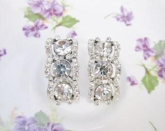 Vintage Rhinestone Earrings, Clear Rhinestone Clip On Earrings, Vintage Wedding Jewelry, Crystal Rhinestone Bridal Earrings, Gifts For Her